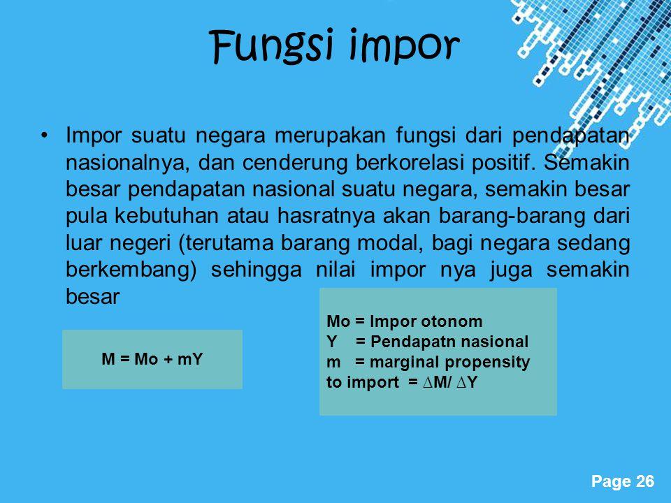 Powerpoint Templates Page 26 Fungsi impor Impor suatu negara merupakan fungsi dari pendapatan nasionalnya, dan cenderung berkorelasi positif. Semakin