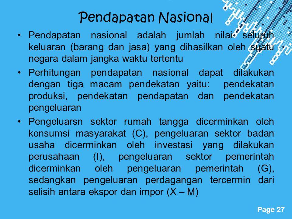 Powerpoint Templates Page 27 Pendapatan Nasional Pendapatan nasional adalah jumlah nilai seluruh keluaran (barang dan jasa) yang dihasilkan oleh suatu