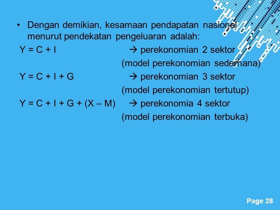 Powerpoint Templates Page 28 Dengan demikian, kesamaan pendapatan nasional menurut pendekatan pengeluaran adalah: Y = C + I  perekonomian 2 sektor (m