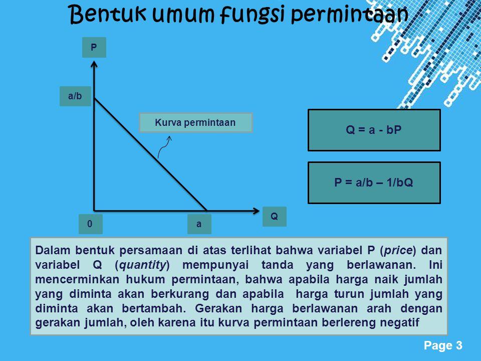 Powerpoint Templates Page 3 Bentuk umum fungsi permintaan P Q a/b a0 Kurva permintaan Q = a - bP P = a/b – 1/bQ Dalam bentuk persamaan di atas terliha