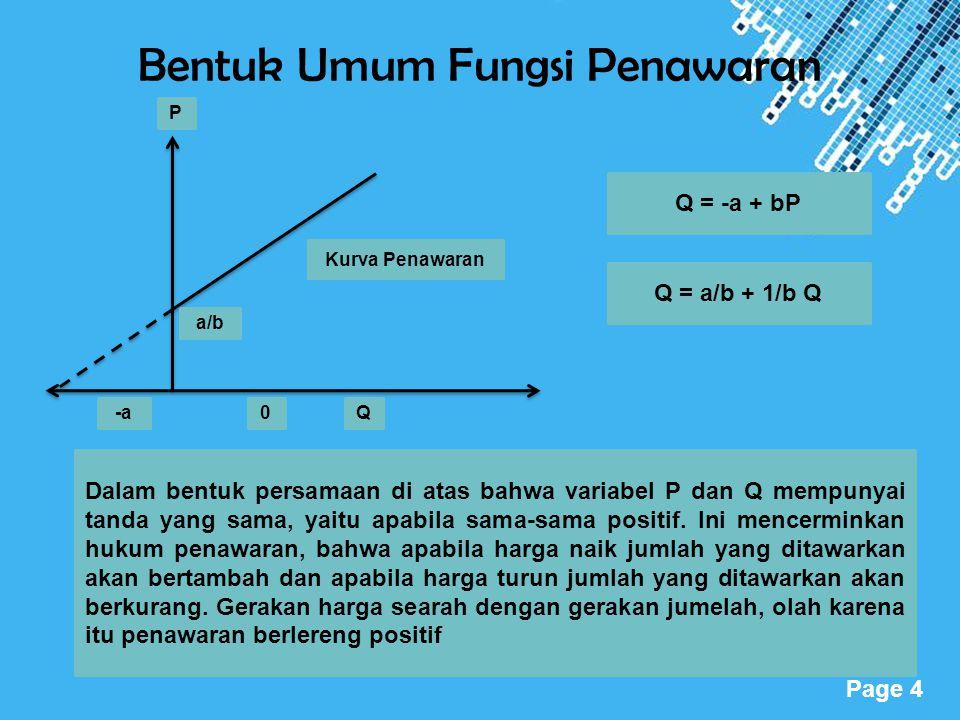 Powerpoint Templates Page 4 Bentuk Umum Fungsi Penawaran P -a0Q Kurva Penawaran a/b Q = -a + bP Q = a/b + 1/b Q Dalam bentuk persamaan di atas bahwa v