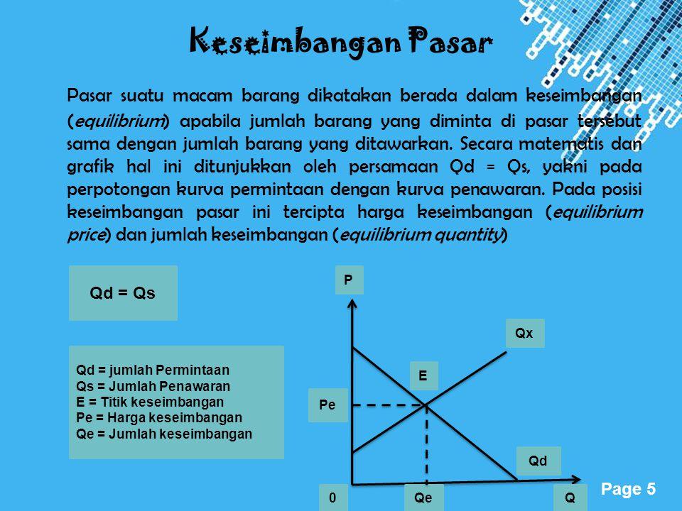 Powerpoint Templates Page 5 Keseimbangan Pasar Pasar suatu macam barang dikatakan berada dalam keseimbangan (equilibrium) apabila jumlah barang yang d