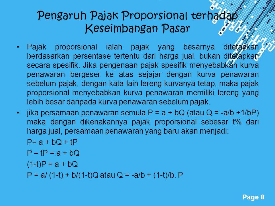 Powerpoint Templates Page 8 Pengaruh Pajak Proporsional terhadap Keseimbangan Pasar Pajak proporsional ialah pajak yang besarnya ditetapkan berdasarka