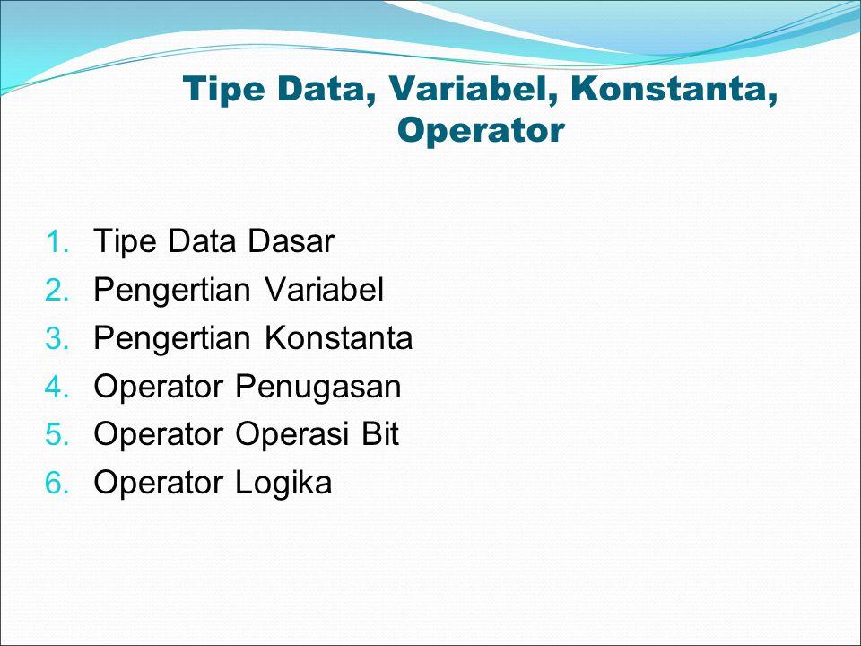 Tipe Data, Variabel, Konstanta, Operator 1. Tipe Data Dasar 2. Pengertian Variabel 3. Pengertian Konstanta 4. Operator Penugasan 5. Operator Operasi B