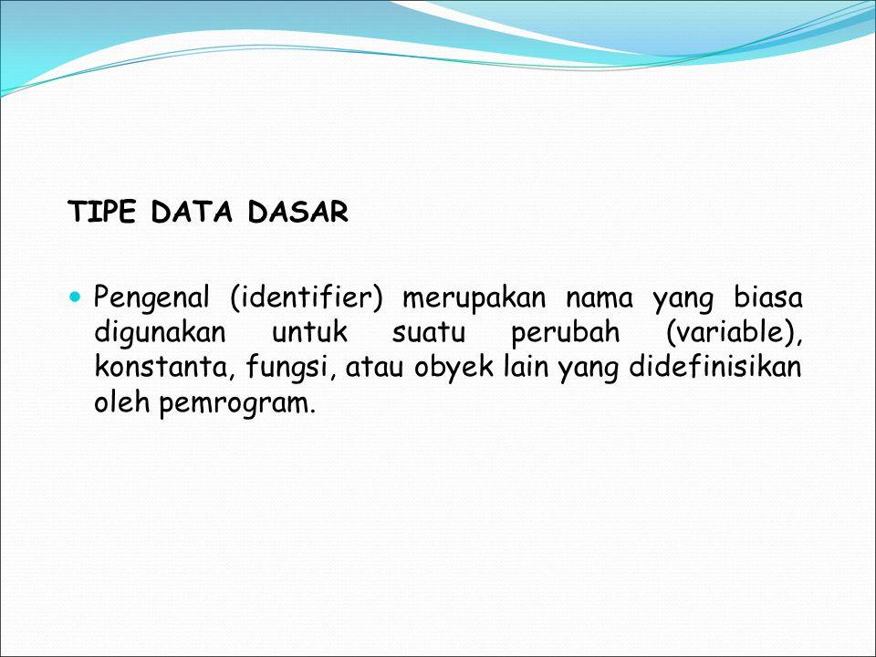 TIPE DATA DASAR Pengenal (identifier) merupakan nama yang biasa digunakan untuk suatu perubah (variable), konstanta, fungsi, atau obyek lain yang dide