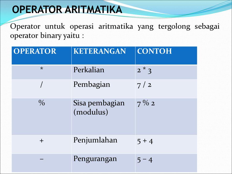 Operator untuk operasi aritmatika yang tergolong sebagai operator binary yaitu : OPERATORKETERANGANCONTOH *Perkalian2 * 3 /Pembagian7 / 2 %Sisa pembag