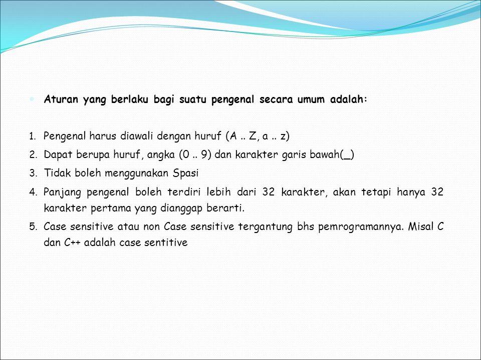 Aturan yang berlaku bagi suatu pengenal secara umum adalah: 1. Pengenal harus diawali dengan huruf (A.. Z, a.. z) 2. Dapat berupa huruf, angka (0.. 9)