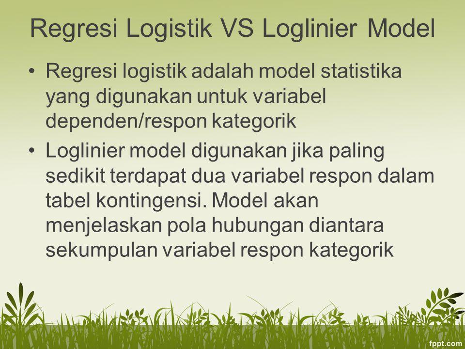 Regresi Logistik VS Loglinier Model Regresi logistik adalah model statistika yang digunakan untuk variabel dependen/respon kategorik Loglinier model digunakan jika paling sedikit terdapat dua variabel respon dalam tabel kontingensi.