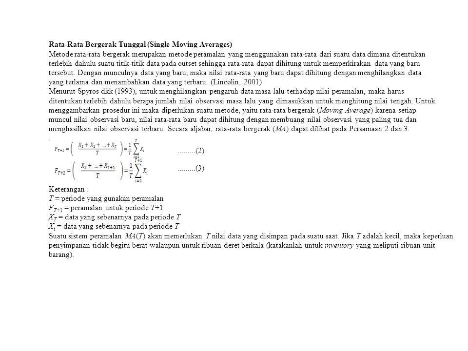 Rata-Rata Bergerak Tunggal (Single Moving Averages) Metode rata-rata bergerak merupakan metode peramalan yang menggunakan rata-rata dari suatu data di
