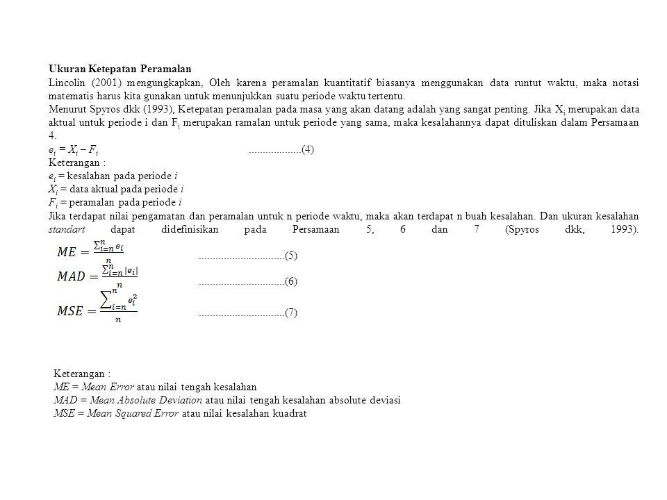 Ukuran Ketepatan Peramalan Lincolin (2001) mengungkapkan, Oleh karena peramalan kuantitatif biasanya menggunakan data runtut waktu, maka notasi matema