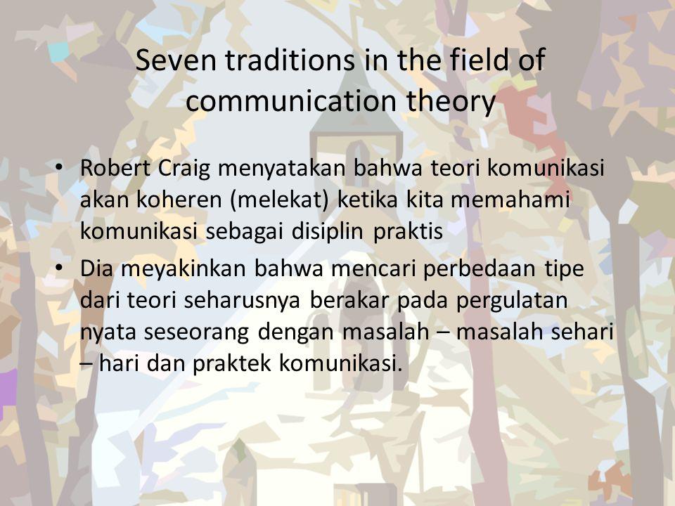 Seven traditions in the field of communication theory Robert Craig menyatakan bahwa teori komunikasi akan koheren (melekat) ketika kita memahami komun