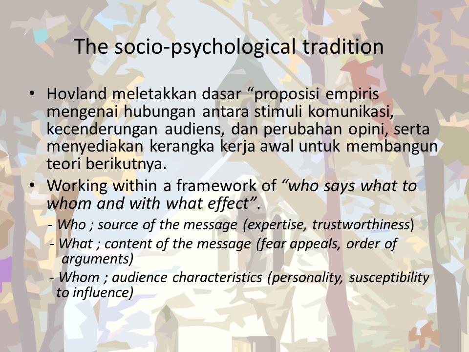 "The socio-psychological tradition Hovland meletakkan dasar ""proposisi empiris mengenai hubungan antara stimuli komunikasi, kecenderungan audiens, dan"