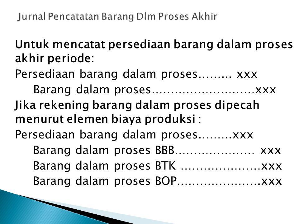 Untuk mencatat persediaan barang dalam proses akhir periode: Persediaan barang dalam proses……... xxx Barang dalam proses………………………xxx Jika rekening bar