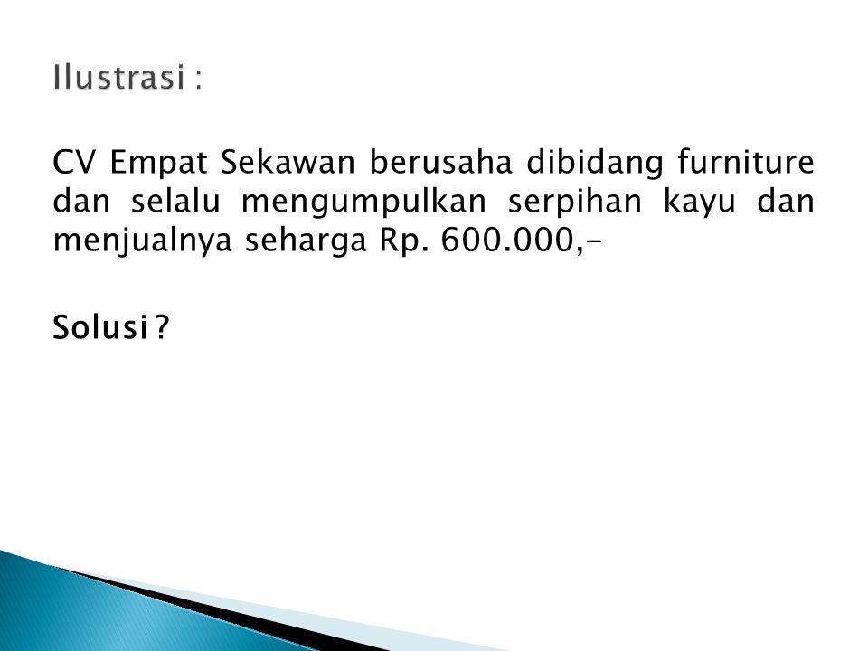 CV Empat Sekawan berusaha dibidang furniture dan selalu mengumpulkan serpihan kayu dan menjualnya seharga Rp. 600.000,- Solusi ?