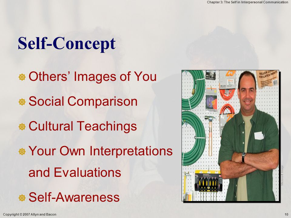 Chapter 3: The Self in Interpersonal Communication Copyright © 2007 Allyn and Bacon10 Self-Concept  Others' Images of You  Social Comparison  Cultu
