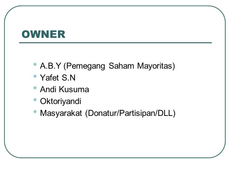 OWNER A.B.Y (Pemegang Saham Mayoritas) Yafet S.N Andi Kusuma Oktoriyandi Masyarakat (Donatur/Partisipan/DLL)