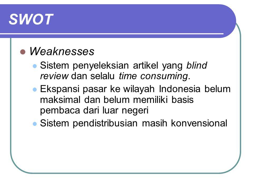 SWOT Weaknesses Sistem penyeleksian artikel yang blind review dan selalu time consuming. Ekspansi pasar ke wilayah Indonesia belum maksimal dan belum