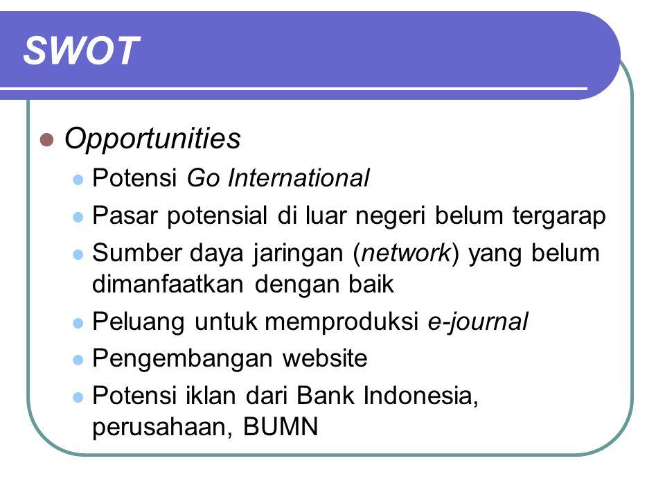 SWOT Opportunities Potensi Go International Pasar potensial di luar negeri belum tergarap Sumber daya jaringan (network) yang belum dimanfaatkan denga