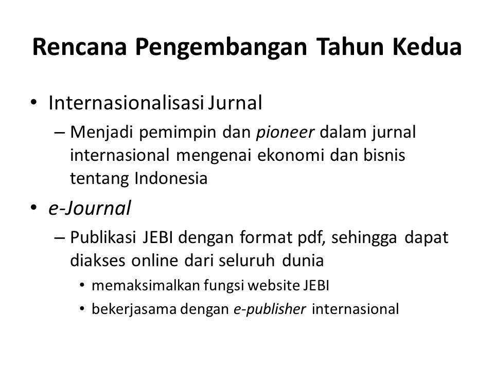 Rencana Pengembangan Tahun Kedua Internasionalisasi Jurnal – Menjadi pemimpin dan pioneer dalam jurnal internasional mengenai ekonomi dan bisnis tenta