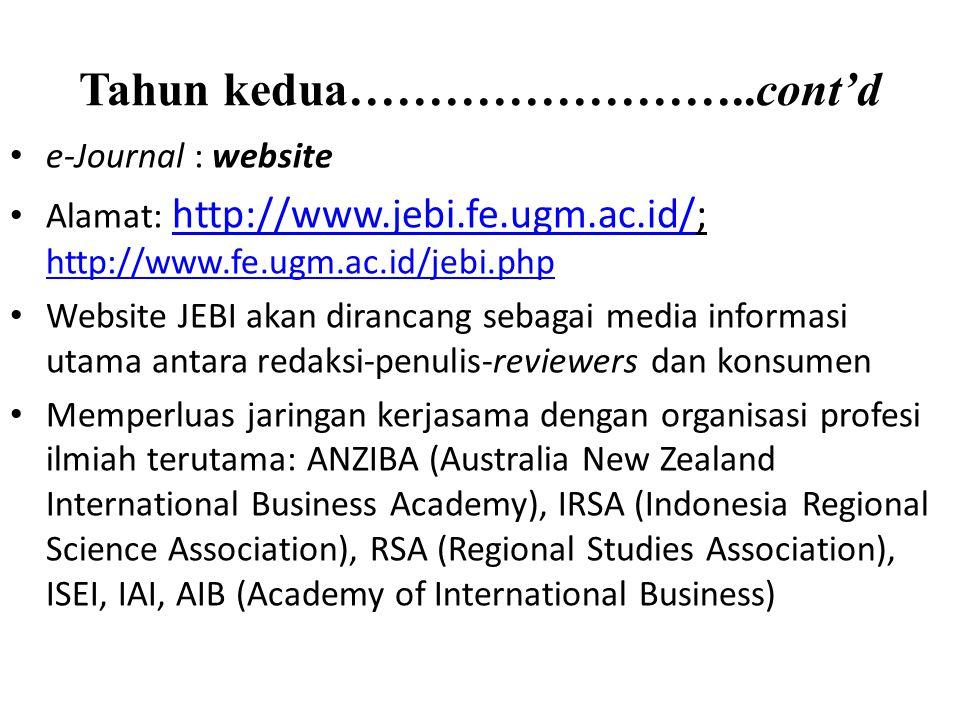 Tahun kedua……………………..cont'd e-Journal : website Alamat: http://www.jebi.fe.ugm.ac.id/; http://www.fe.ugm.ac.id/jebi.php http://www.jebi.fe.ugm.ac.id/