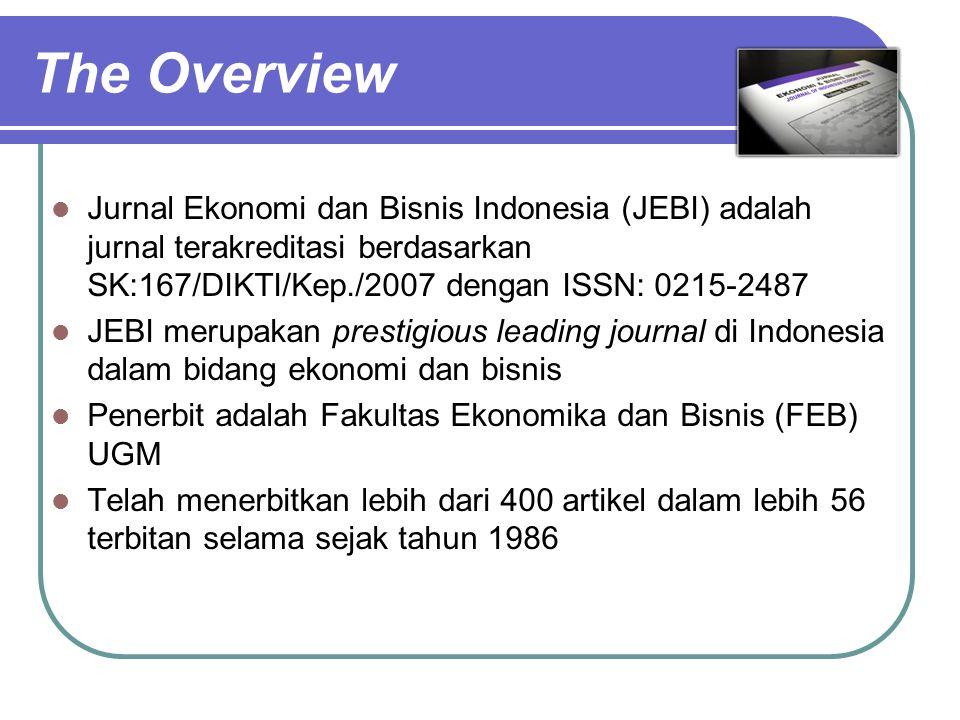 The Overview Jurnal Ekonomi dan Bisnis Indonesia (JEBI) adalah jurnal terakreditasi berdasarkan SK:167/DIKTI/Kep./2007 dengan ISSN: 0215-2487 JEBI mer