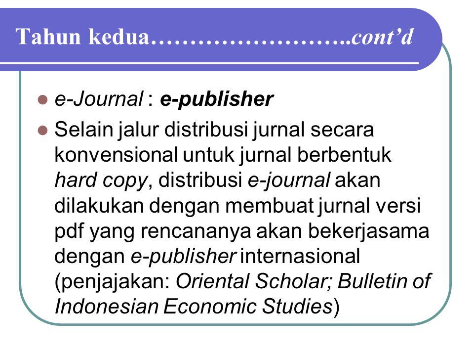 Tahun kedua……………………..cont'd e-Journal : e-publisher Selain jalur distribusi jurnal secara konvensional untuk jurnal berbentuk hard copy, distribusi e-