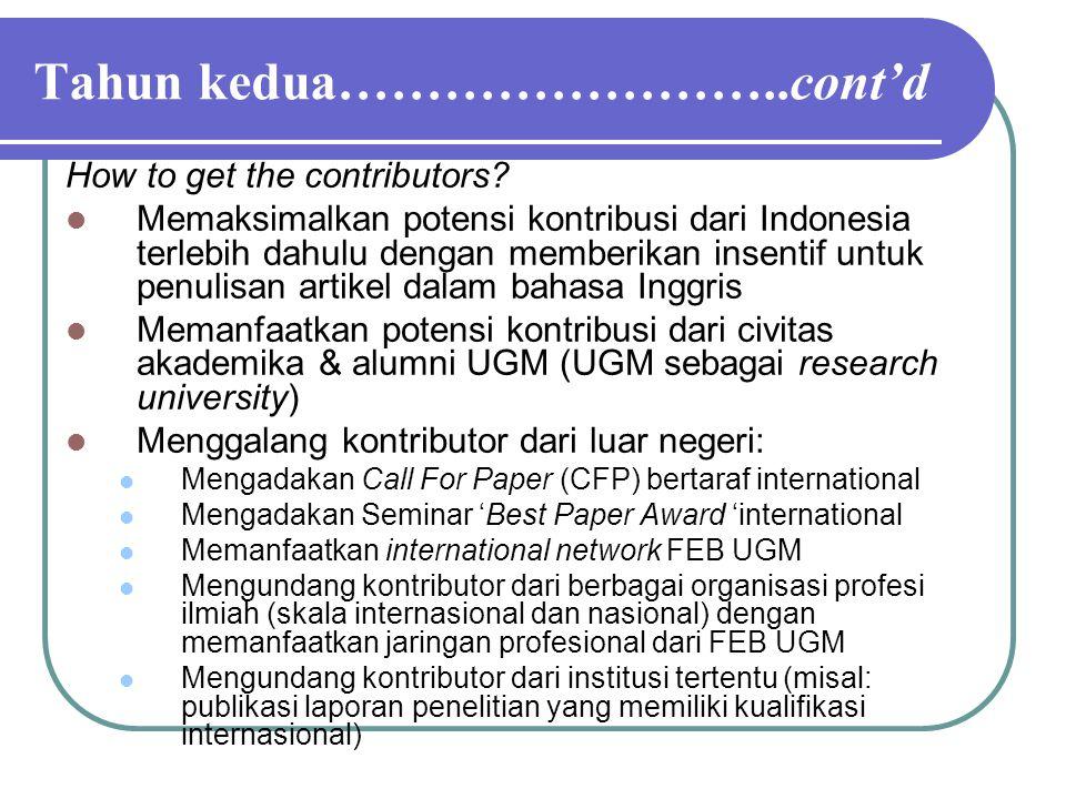 Tahun kedua……………………..cont'd How to get the contributors? Memaksimalkan potensi kontribusi dari Indonesia terlebih dahulu dengan memberikan insentif un