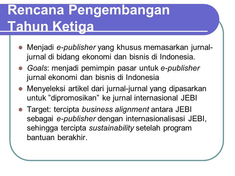 Rencana Pengembangan Tahun Ketiga Menjadi e-publisher yang khusus memasarkan jurnal- jurnal di bidang ekonomi dan bisnis di Indonesia. Goals: menjadi