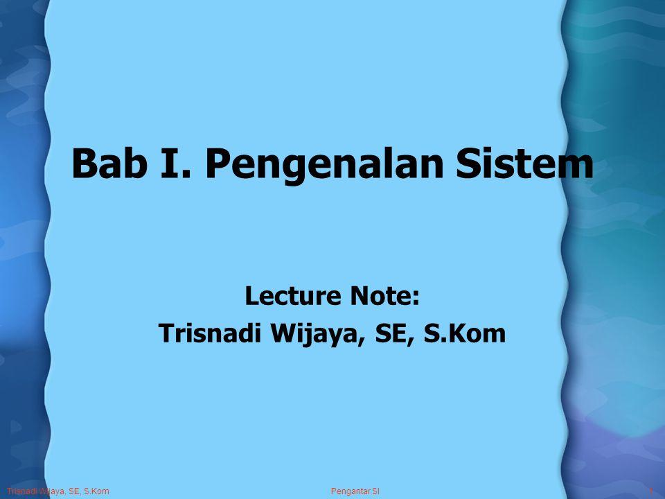 Trisnadi Wijaya, SE, S.Kom Pengantar SI1 Bab I.