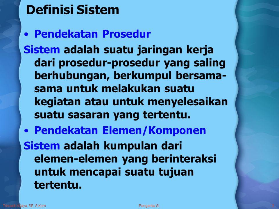 Trisnadi Wijaya, SE, S.Kom Pengantar SI3 Definisi Sistem Pendekatan Prosedur Sistem adalah suatu jaringan kerja dari prosedur-prosedur yang saling berhubungan, berkumpul bersama- sama untuk melakukan suatu kegiatan atau untuk menyelesaikan suatu sasaran yang tertentu.