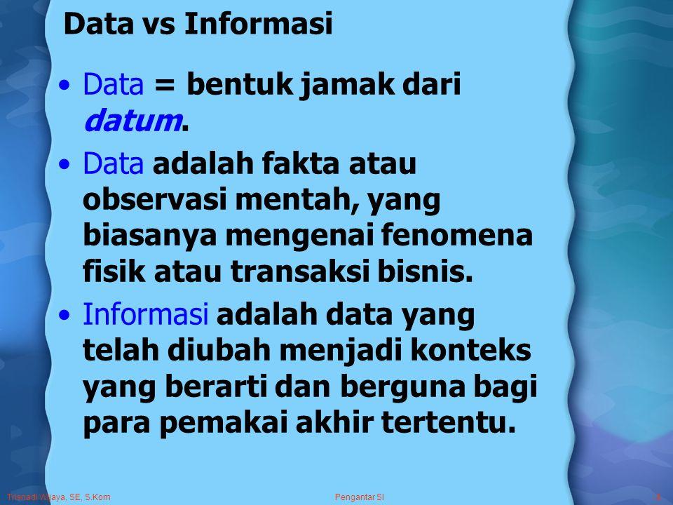 Trisnadi Wijaya, SE, S.Kom Pengantar SI8 Data vs Informasi Data = bentuk jamak dari datum.