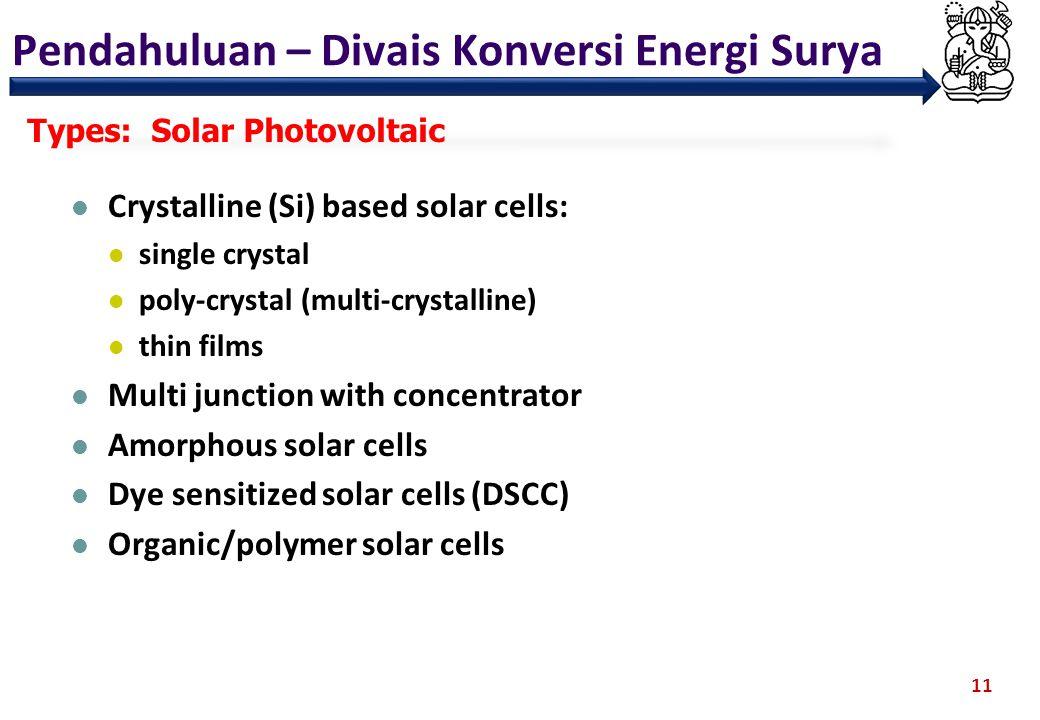 Pendahuluan – Divais Konversi Energi Surya 11 Types: Solar Photovoltaic Crystalline (Si) based solar cells: single crystal poly-crystal (multi-crystal