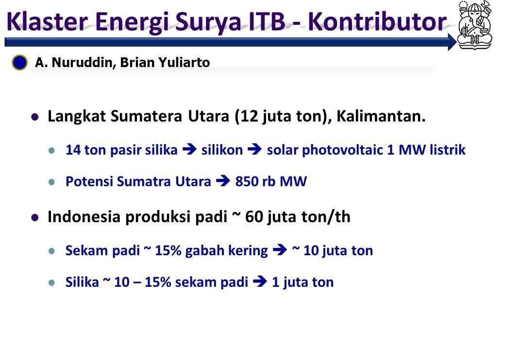 Klaster Energi Surya ITB - Kontributor A. Nuruddin, Brian Yuliarto Langkat Sumatera Utara (12 juta ton), Kalimantan. 14 ton pasir silika  silikon  s