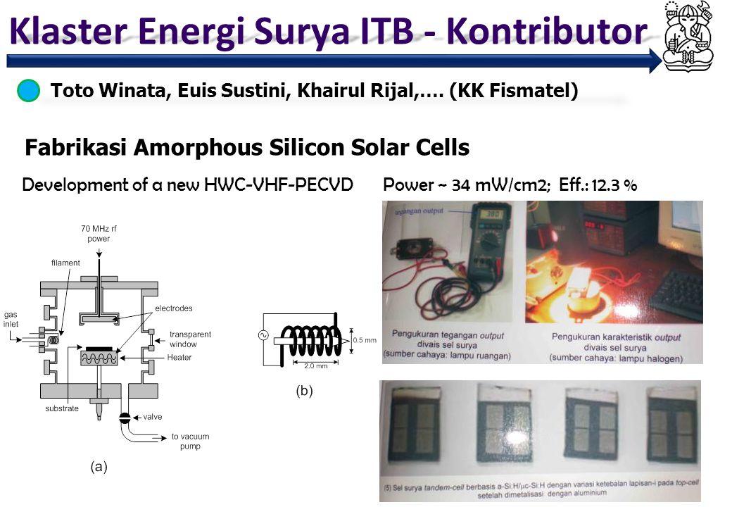 Klaster Energi Surya ITB - Kontributor Fabrikasi Amorphous Silicon Solar Cells Toto Winata, Euis Sustini, Khairul Rijal,…. (KK Fismatel) Development o