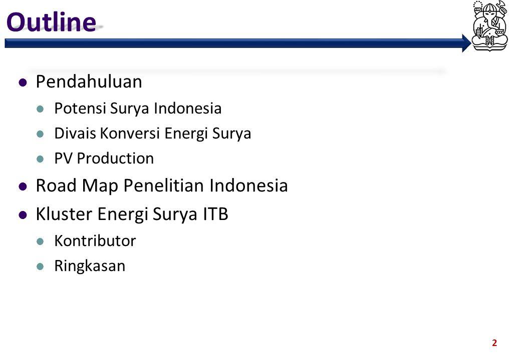 Outline Pendahuluan Potensi Surya Indonesia Divais Konversi Energi Surya PV Production Road Map Penelitian Indonesia Kluster Energi Surya ITB Kontribu
