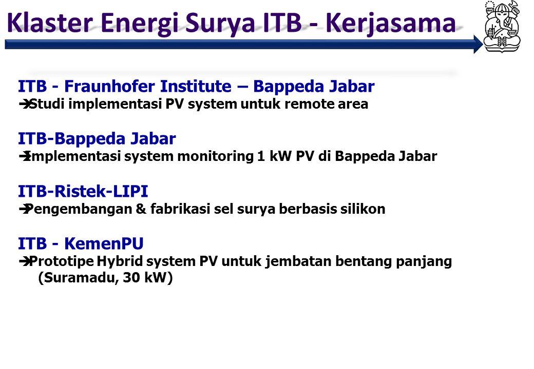 Klaster Energi Surya ITB - Kerjasama ITB - Fraunhofer Institute – Bappeda Jabar  Studi implementasi PV system untuk remote area ITB-Bappeda Jabar  I