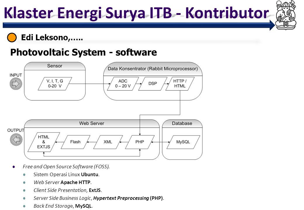 Klaster Energi Surya ITB - Kontributor Edi Leksono,….. Photovoltaic System - software Free and Open Source Software (FOSS). Sistem Operasi Linux Ubunt