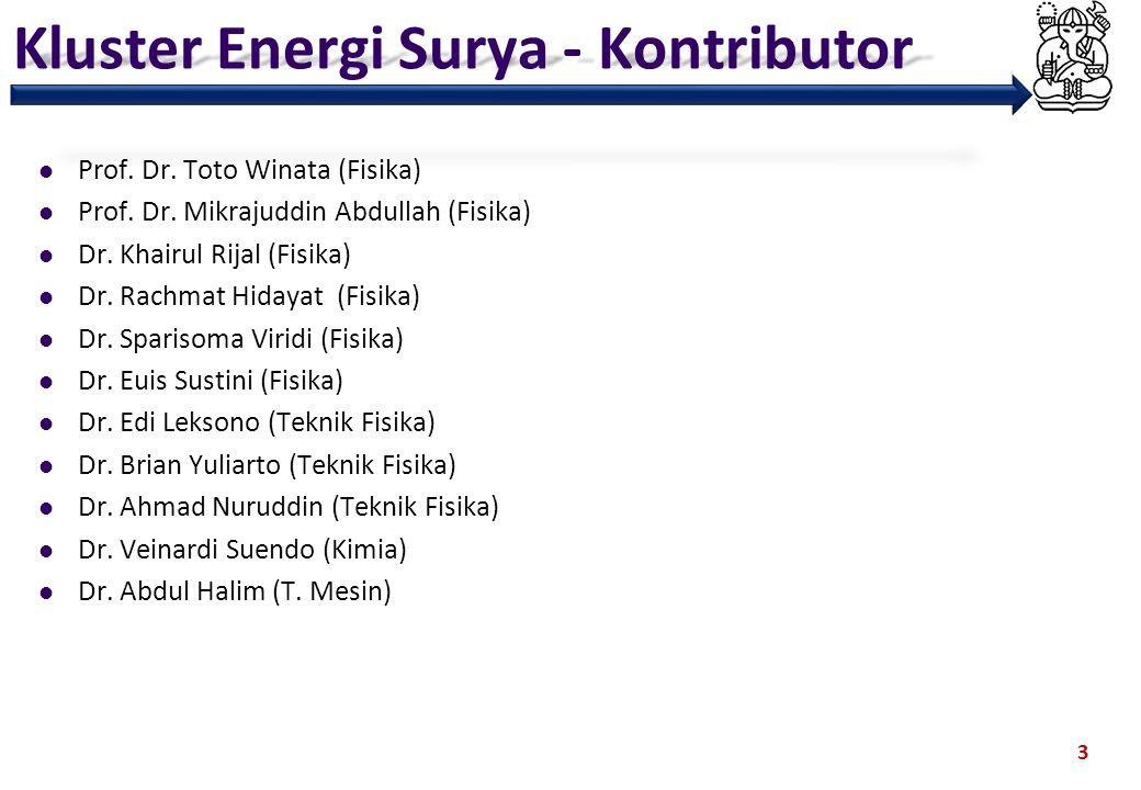 Kluster Energi Surya - Kontributor Prof. Dr. Toto Winata (Fisika) Prof. Dr. Mikrajuddin Abdullah (Fisika) Dr. Khairul Rijal (Fisika) Dr. Rachmat Hiday