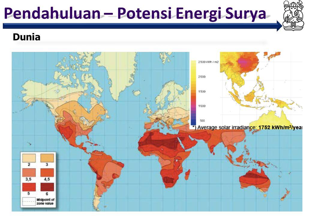 Pendahuluan – Potensi Energi Surya 5 Monthly Average Insolation (NASA 1985 – 2007) 4.8 kWh/m 2 /day