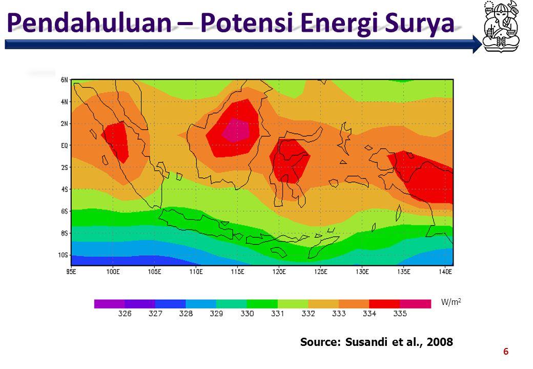 Pendahuluan – Potensi Energi Surya 7 Source: Susandi et al., 2008 = Wind Energy = Solar Energy = Biofuel Energy = Geothermal Energy = Coal Energy