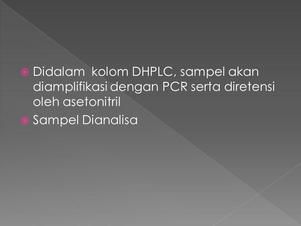 Didalam kolom DHPLC, sampel akan diamplifikasi dengan PCR serta diretensi oleh asetonitril  Sampel Dianalisa