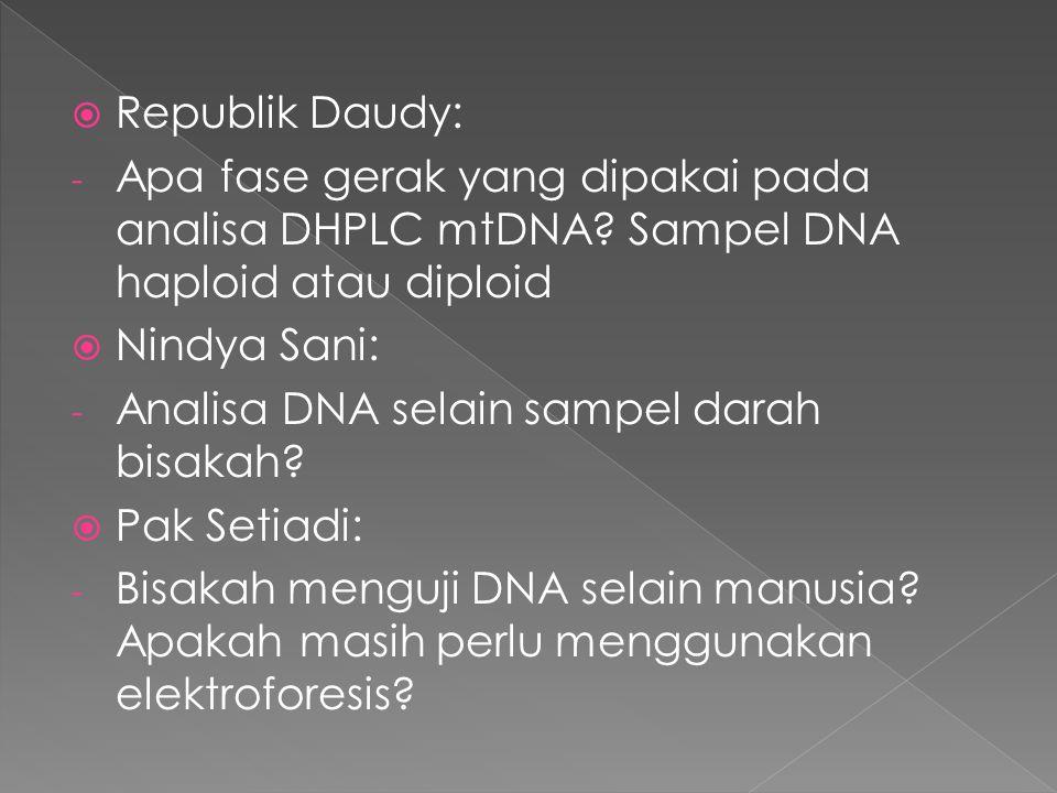  Republik Daudy: - Apa fase gerak yang dipakai pada analisa DHPLC mtDNA? Sampel DNA haploid atau diploid  Nindya Sani: - Analisa DNA selain sampel d