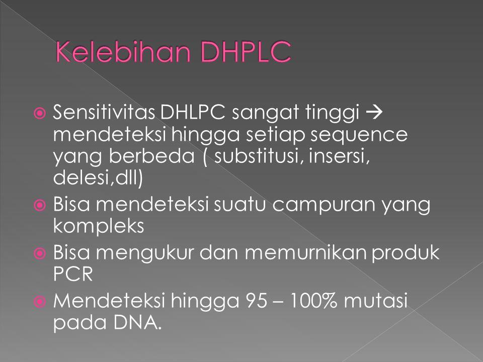  Sensitivitas DHLPC sangat tinggi  mendeteksi hingga setiap sequence yang berbeda ( substitusi, insersi, delesi,dll)  Bisa mendeteksi suatu campura