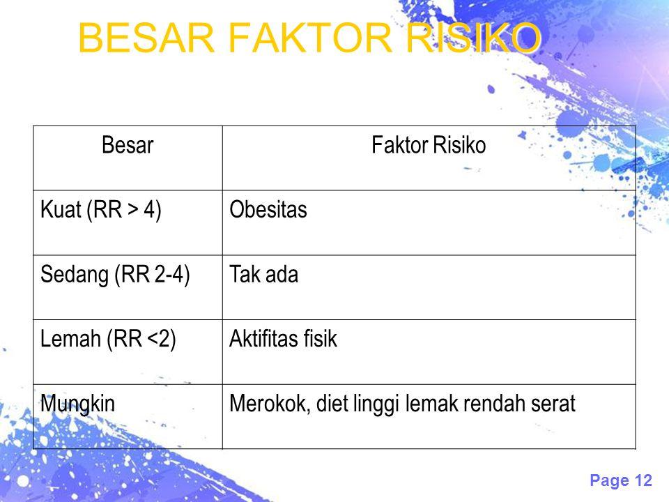 Page 12 BESAR FAKTOR RISIKO BesarFaktor Risiko Kuat (RR > 4)Obesitas Sedang (RR 2-4)Tak ada Lemah (RR <2)Aktifitas fisik MungkinMerokok, diet linggi lemak rendah serat