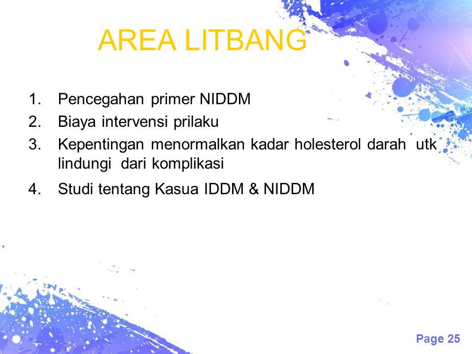 Page 25 AREA LITBANG 1.Pencegahan primer NIDDM 2.Biaya intervensi prilaku 3.Kepentingan menormalkan kadar holesterol darah utk lindungi dari komplikasi 4.Studi tentang Kasua IDDM & NIDDM