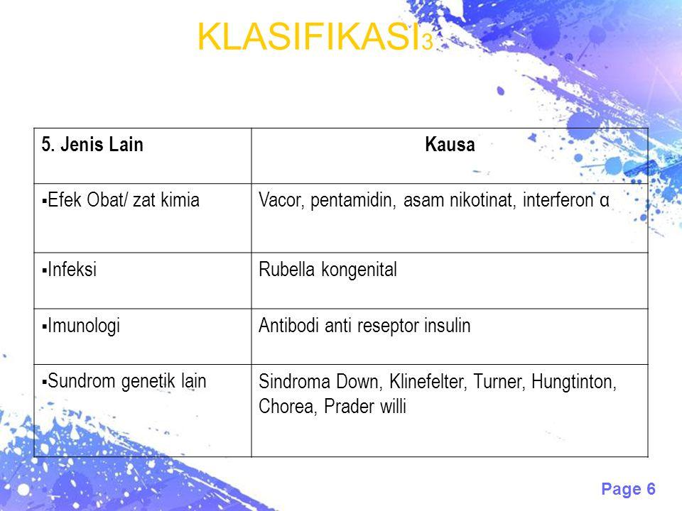 Page 6 KLASIFIKASI 3 5. Jenis LainKausa  Efek Obat/ zat kimiaVacor, pentamidin, asam nikotinat, interferon α  InfeksiRubella kongenital  ImunologiA