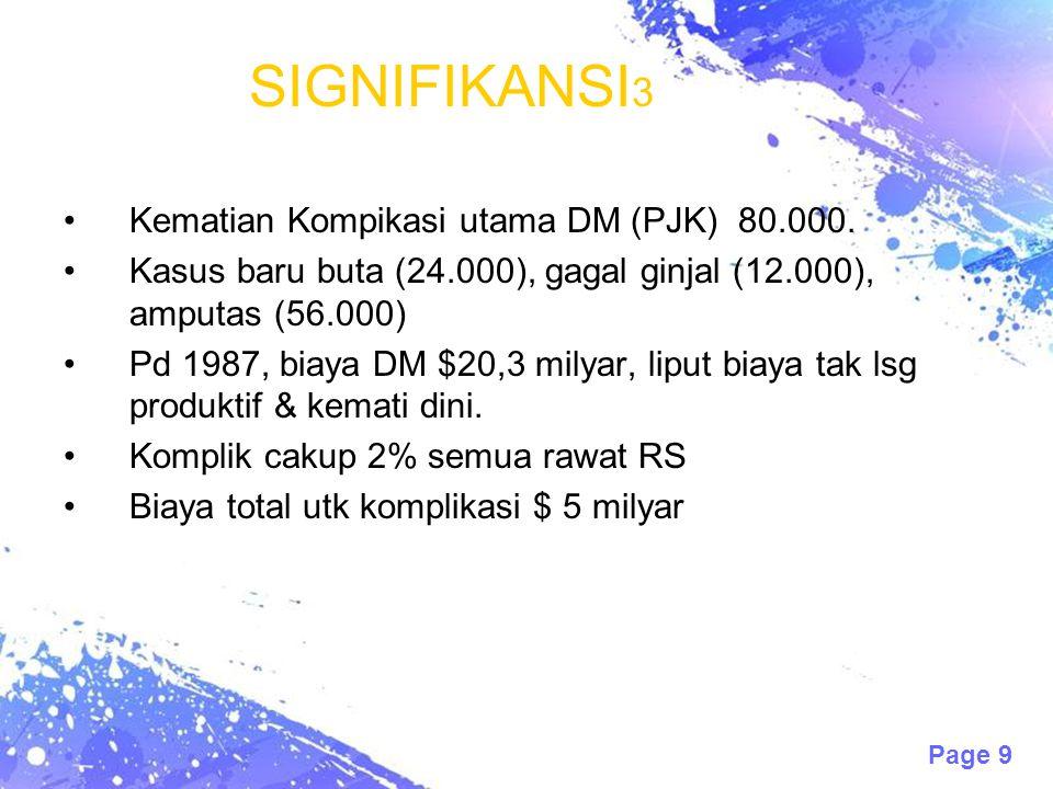 Page 9 SIGNIFIKANSI 3 Kematian Kompikasi utama DM (PJK) 80.000. Kasus baru buta (24.000), gagal ginjal (12.000), amputas (56.000) Pd 1987, biaya DM $2