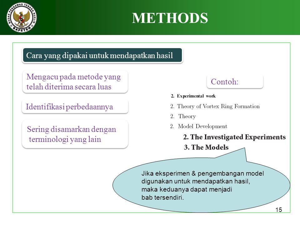 15 METHODS Cara yang dipakai untuk mendapatkan hasil Mengacu pada metode yang telah diterima secara luas Mengacu pada metode yang telah diterima secar