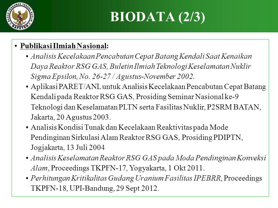 BIODATA (3/3) Publikasi Ilmiah Internasional: 1.Study on Void Reactivity of LMFBR, Ind'sian Jou.