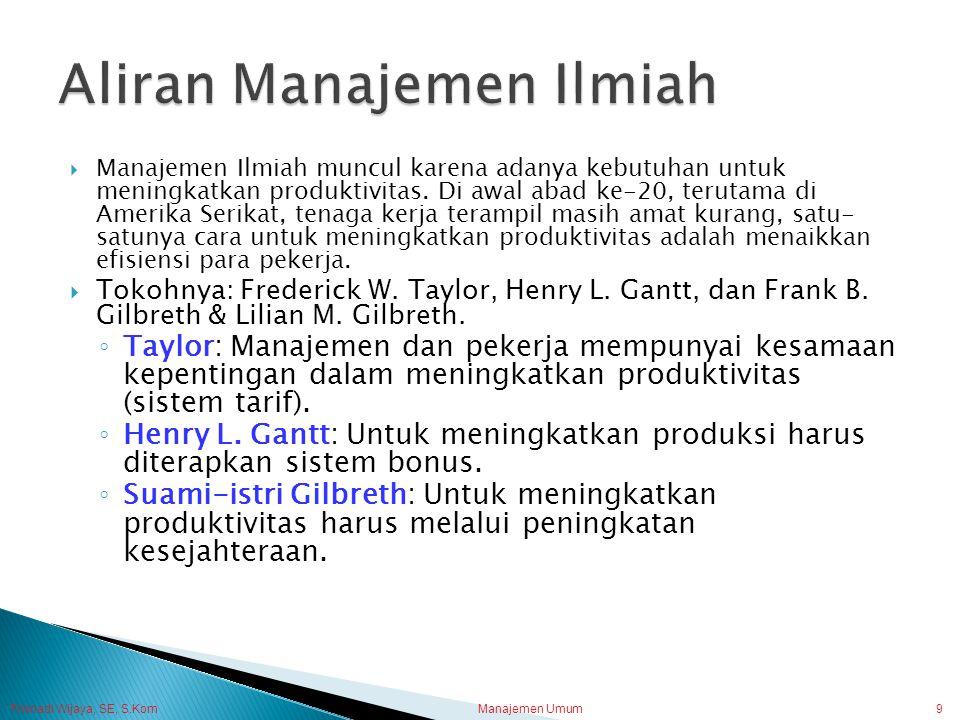 Trisnadi Wijaya, SE, S.Kom Manajemen Umum9  Manajemen Ilmiah muncul karena adanya kebutuhan untuk meningkatkan produktivitas. Di awal abad ke-20, ter